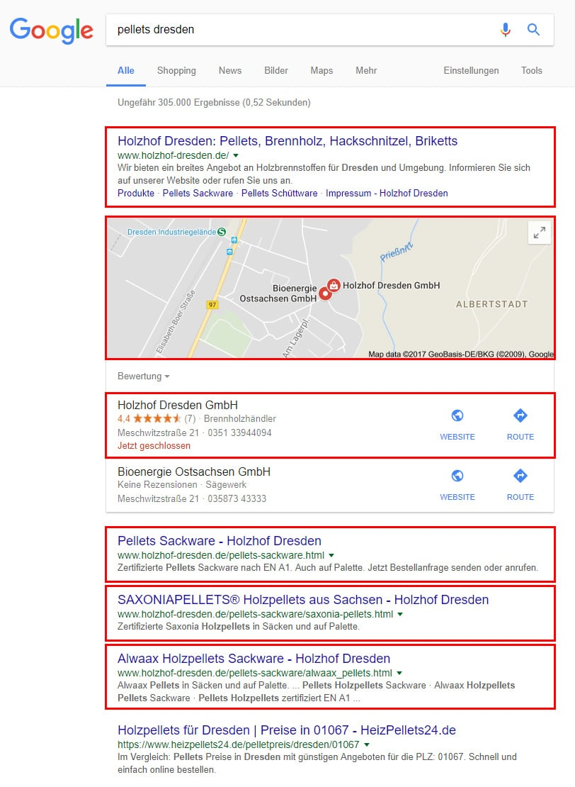 Image shows client ranking for the top 4 results at Google Search